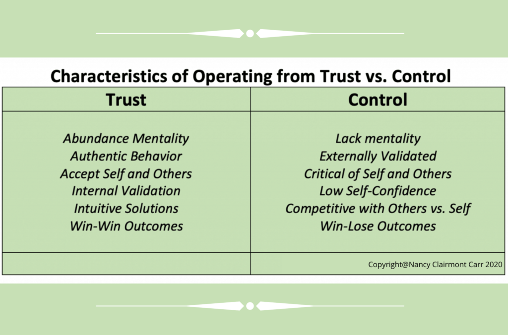 Characteristics of Operating from Trust vs Control